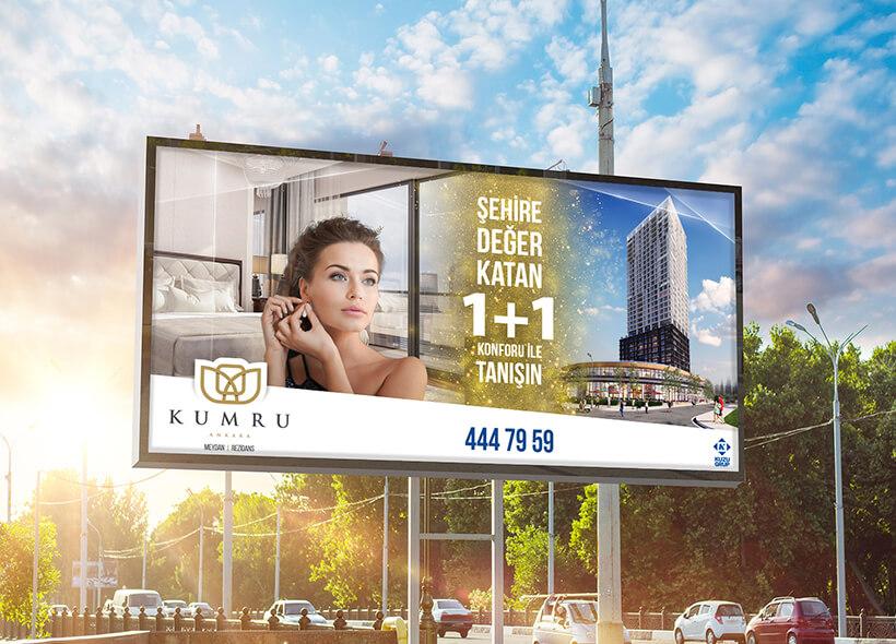Açık hava billboard tasarımı- Kuzu Grup / Kumru Ankara Projesi